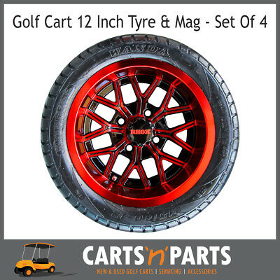 "Golf Cart Buggy Mags & Tyres -12"" Red & Black RHOX centres"