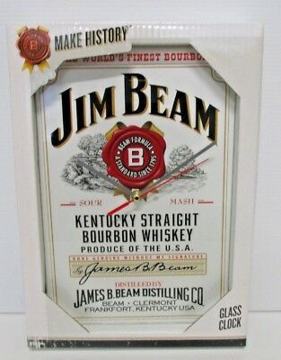 Jim Beam Bourbon brand new in box 25cm x 35cm glass hanging wall clock for bar