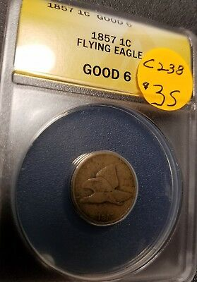 1857 Certified Flying Eagle Small Cent, Good6, C238