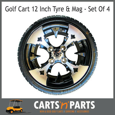 "Golf Cart Buggy Mags & Tyres -12"" Black & Silver SS centres"