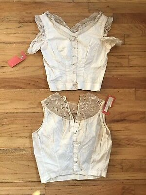 1890s VICTORIAN lot of 2 Lace corset covers camisole MUSEUM TAGS vintage 1800s