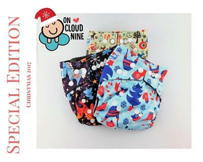 3X Bamboo Charcoal Cloth Nappies Baby & 5Layer Inserts NEW CHRISTMAS EDITION