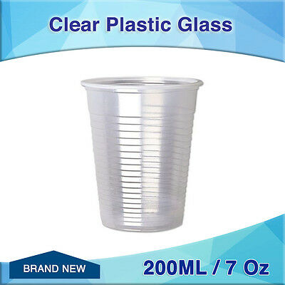 300pc Clear Plastic Cold Drinking Cups 200ML 7 Oz bulk new disposable Glass