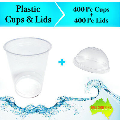 Disposable Plastic Cups Clear + Dome Lids 400pc 225ml Water Party Drinking Bulk