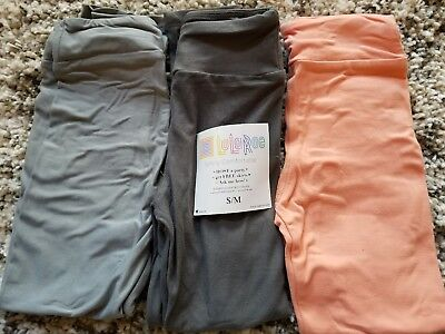 Lularoe new nwt leggings S/M kids LOT of 3 pairs solids orange coral greys grays