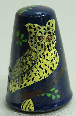 Vintage Collectible Souvenir Thimble Wood NAVY BLUE with OWL