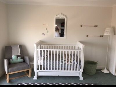 White baby Sleigh cot & Mattress With matching change table