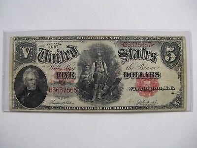 1907 $5 Five Dollar United States Wood Chopper Legal Tender Large Note Red Seal