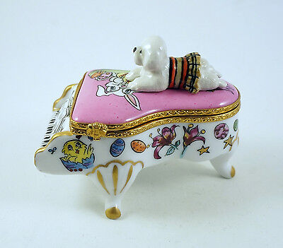 New French Limoges Trinket Box Bichon Frise Dog On Grand Piano W Easter Bunny