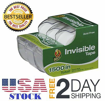 3 Rolls Duck Brand Invisible Scotch Tape with Dispenser 3/4-Inch x 500 Inch