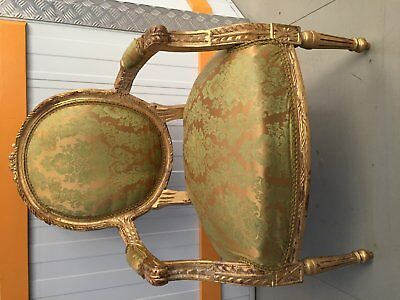 Antique Style  Louis XV Gold Upholstered Chair
