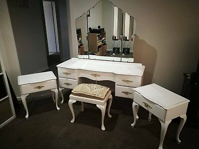 Vintage Queen Anne Dressing Table- with 2 side tables and stool