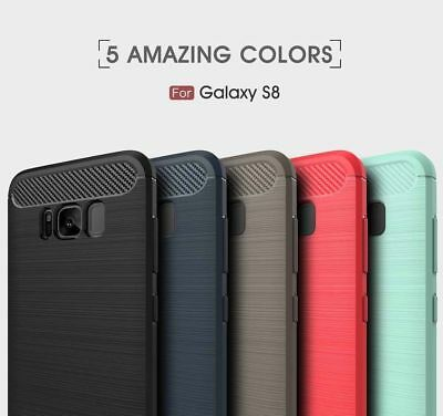 For Samsung Galaxy S6/7 S8+ Plus Shockproof Hybrid Brushed Skin Soft Case Cover