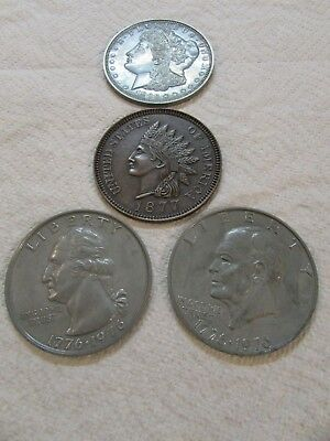 """3"""" (Inch) Novelty Coin, Coaster, Paper Weight, (Qty 4). (Free Ship), 1 Lot."""