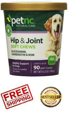 Hip and Joint Soft Chews Glucosamine MSM Supplement for Dogs Natural Pet Care 90