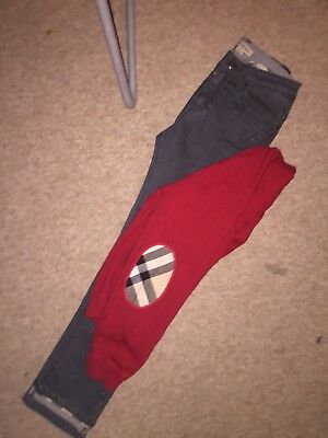 Boys Genuine Burberry Outfit /jeans & Cardigan  8 years