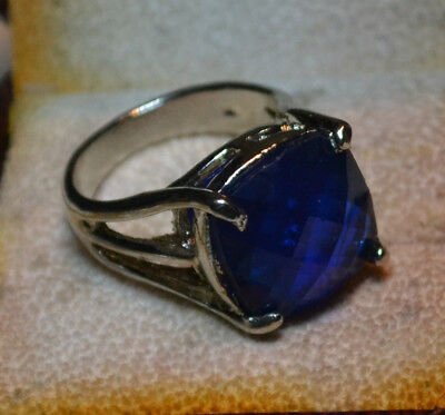 Fine Italy large Blue Spinel gemstone Sterling Silver, 925, ring size 8, vintage
