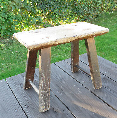 Antique Wooden 4 Legged Elm Stool
