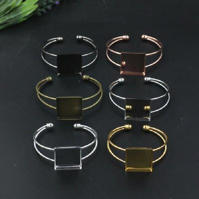 25*25mm Copper Square Cabochon Tray Gold Silver Plated Blank Cuff Bracelet Base