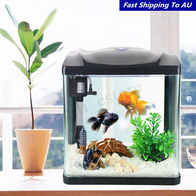 10L LED Lighting Fish Ecology Aquarium Filter Tank Pump Set Office Home Decor