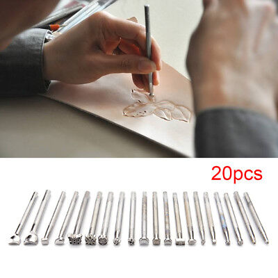 UK 20Pcs Leather Working Saddle Making Tools Carving Leather Craft Stamps Set