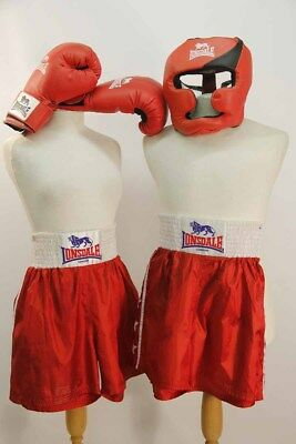 2 x Boxing shorts, 1 boxing helmet, 1 pr gloves