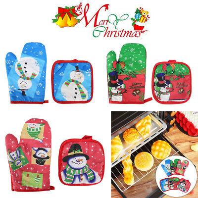 3pcs/Set Christmas BBQ Oven Cooking Baking Gloves Heat Resistant Mittens Mitts