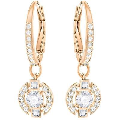 Swarovski Jewelry Rose Gold-Toned White Sparkling Dance Round Earrings