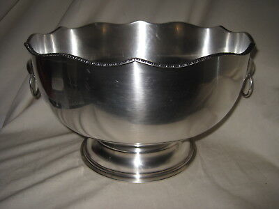 "Sheffield Silver on Copper Silverplated 12"" Punch Bowl Vintage Good Condition"