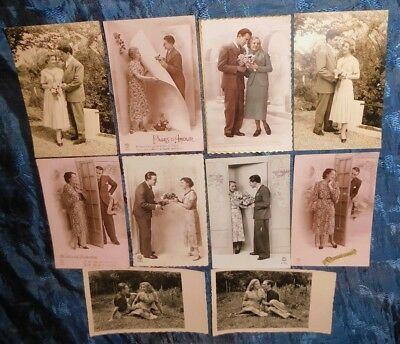 Estate 10 x 1930/40s French Romantic Couple Photo Greeting Postcards