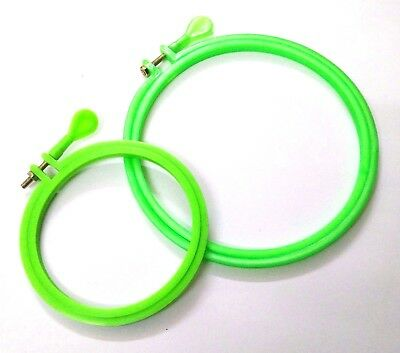 Set 2 Plastic Hoops Ring Cross Stitch Hand Machine Embroidery Sewing Needlework