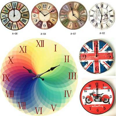RETRO ROUND WOODEN WALL CLOCK Vintage Antique Style HANGING CLOCK Home Decor