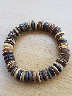 Jewellery Mottled Earthy Browns Stretch Wood Surfer Hippy Bangle  A42
