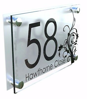 Modern House Number Plaques Acrylic Wall Door Sign Flowers Name Plate Dec4-27BS