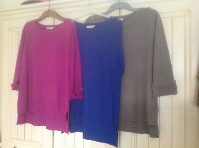Three bhs sweaters size 16, 3/4 length sleeves, slits at sides, post UK only