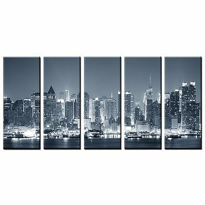 FRAMED Large Canvas Wall Art Decor Grey City Scene Canvas Painting Print 5 Panel