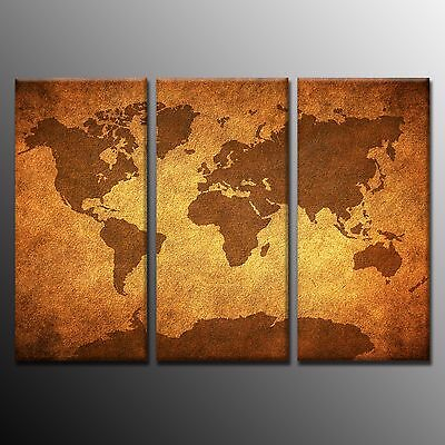 FRAMED Large Wall Art Vintage World Map Art Canvas Painting Print Home Decor-3p