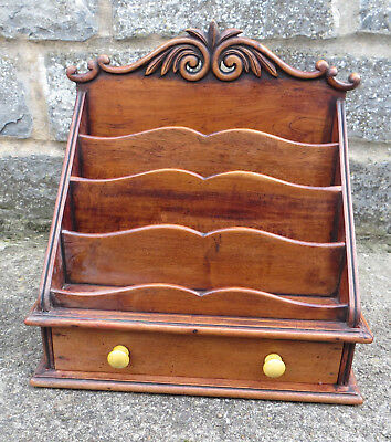 Vintage Wooden Mahogany Desk Tidy with Drawer and Letter/Stationery Compartments