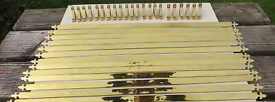 "Antique/Vintage Brass Stair Carpet Rods, Fleur-de-lys - 33"" 13 rods + 11 fixings"