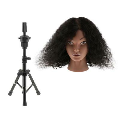 Silicone 100% Human Hair Cosmetology Practice Mannequin Head + Tripod Stand