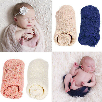 Newborn Baby Girl Boy Crochet Knit Wrap Swaddle Photography Photo Props Cotton
