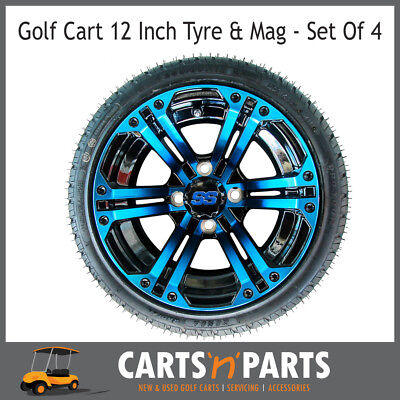 "Golf Cart Buggy Mags & Tyres -12"" Blue & Black SS centres"