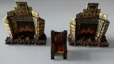 Hero Quest 1x Thron + 2x Kamin Möbel Konvolut MB Heroquest