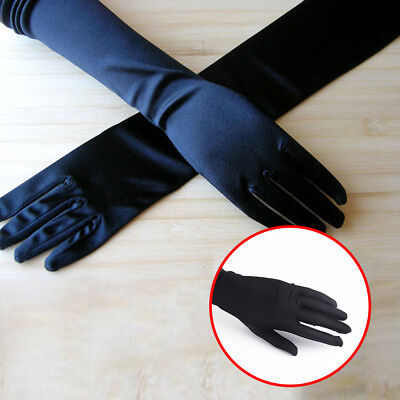 Stretch Long Black Opera Gothic Gloves Womens Elbow Evening 1920s Fancy Dress