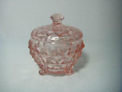Indiana Glass Pink DepressionWhitehall 3 footed Covered Candy Sugar Trinket Dish
