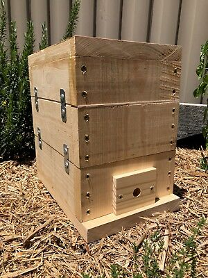 Stingless Native Beehive With Honey Pot Design   Bare Timber   OATH Bee Hive
