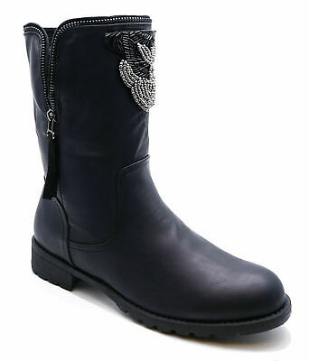 Womens Black Pull-On Ankle Biker Flat Rock-Chick Military Boots Shoes Sizes 4-8