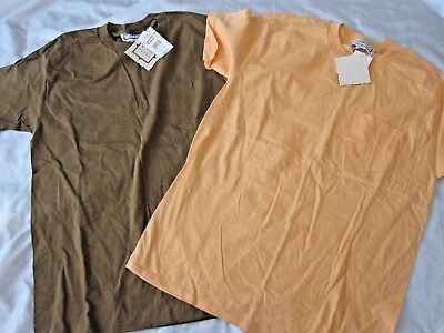 Mixed Items Vintage T-Shirt Lot of 2 Orange & Brown Pocket Size Medium Mens (K59