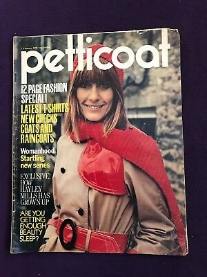 "Teenage Girls Magazine ""PETTICOAT"" 7th Feb 1970 Fashion Music HAYLEY MILLS"