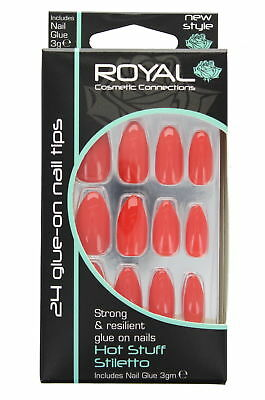 Royal 24 Glue-On Strong & Resilient Nail Tips-Hot Stuff Stiletto